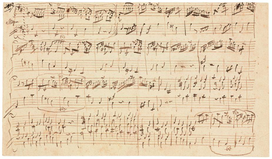Facsimile of Mozart's Allegro in D, DK 626B/16