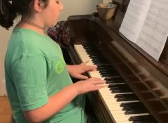 Madeline playing Ode to Joy