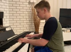 Lucas playing Gavotte by G. Telemann